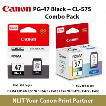 Canon PG-47 Black + CL-57S Ink Cartridge = 2 Pcs