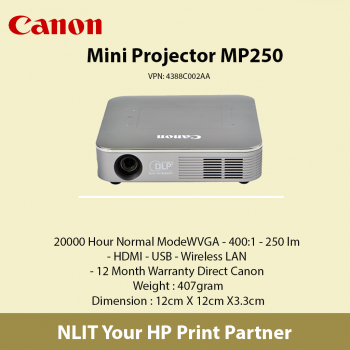 Canon MP250 DLP Projector - 16:9 - 854 x 480 - Front - 20000 Hour Normal ModeWVGA - 400:1 - 250 lm - HDMI - USB - Wireless LAN - 12 Month Warranty