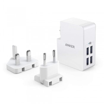 Anker A2042 PowerPort 4 Lite 4 Port Wall Charger (UK and EU Plugs) - White
