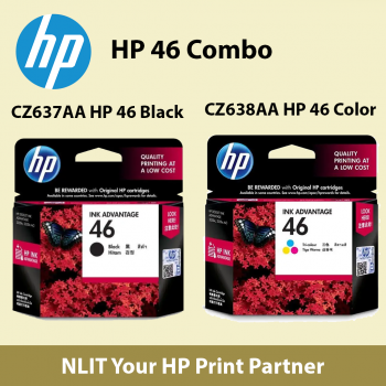 HP 46 Combo,  1 unit Black Ink Cartridge (CZ637AA) and 1 Trio Color CZ638AA)