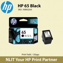 HP Original Cartridge : HP 65 Black : 120pgs : N9K02AA : 6 Months Direct HP Warranty