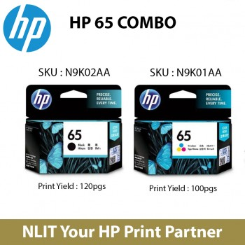 HP Original Cartridge : HP 65 Combo Color and Black (2 unit) : 100- 120pgs : N9K02AA - N9K02AA : 6 Months Direct HP Warranty