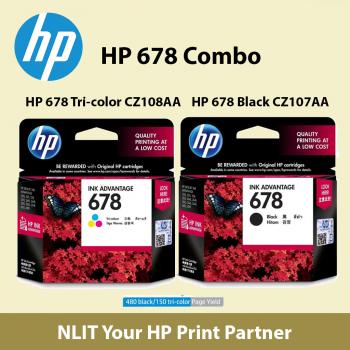 HP 678 Combo, 1 unit HP 678 Tri-color Ink Cartridge (CZ108AA)  & 1 unit HP 678 Black Ink Cartridge (CZ107AA) ( Total 2 unit)