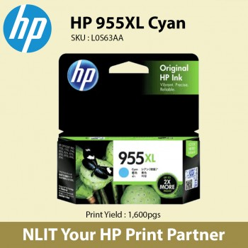 HP Original Cartridges : HP 955XL Cyan : Hight Yield : 1600pgs : L0S63AA : 6 month Direct HP Warranty