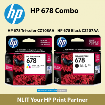 HP 678 Combo, 1 unit HP 678 Tri-color Ink Cartridge (CZ108AA)  & 1 unit HP 678 Black Ink Cartridge (CZ107AA)