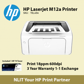 HP LaserJet M12a Printer Bundled with 1 HP 79 Original Toner