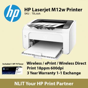 HP LaserJet Pro M12w Single Function Mono Printer T0L46A