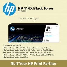 HP Original Toner : HP 416X Black : Large : 7,500pgs : W2041X : 2 Years Direct HP Warranty