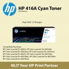HP Original Toner : HP 416A Cyan : Std : 2,100pgs : W2041A :  2 Years Direct HP Warranty