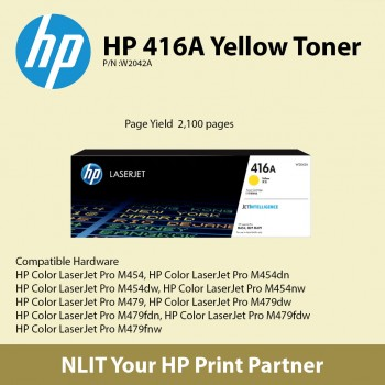 HP 416A Yellow Original LaserJet Toner Cartridge W2043A