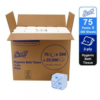 Scott® Control™ Hygienic Bath Toilet Tissue 06402 - 75 packs x 300 sheets white, 2 ply (22500 sheets)