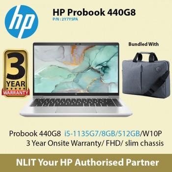 """Exstock HP ProBook 440 G8 2Y7Y5PA   (i5-1135G7 / 8GB DDR4 / 512GB SSD / 14"""" Display/ 1.38Kg/ W10P/3Yr Warranty/15.6"""" backpack )"""