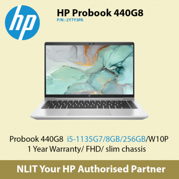 HP ProBook 440 G8 2Y7Y3PA   (i5-11350U / 8GB DDR4 / 256GB SSD / W10P)  - 1 Year Warranty bundled Carrying Case