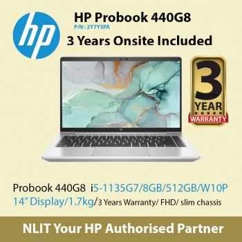 """HP ProBook 440 G8 2Y7Y5PA   (i5-1135G7 / 8GB DDR4 / 512GB SSD / 14"""" Display/ 1.38Kg/ W10P/3Yr Warranty ) ETA 20/Oct"""