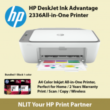 HP DeskJet Ink Advantage 2336 All-in-One Printer Include 1 Black and 1 color Ink Cartridges in Box.