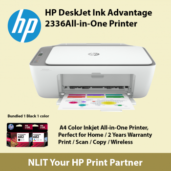 *HP DeskJet Ink Advantage 2336 All-in-One Printer Include 1 Black and 1 color Ink Cartridges in Box.