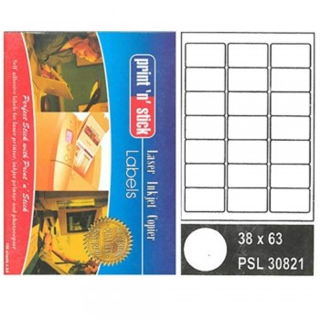Print n Stick A4 Laser Inkjet Label Stickers 21pcs - 38mm x 63mm, 100sheets (Item No:r01-15) A1R3B196