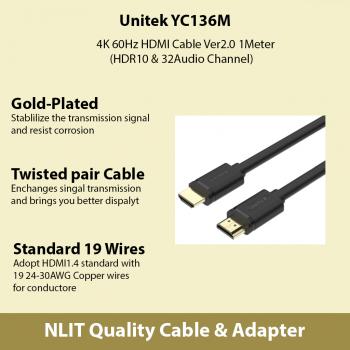4K 60Hz HDMI Cable Ver2.0 1Meter (HDR10 & 32Audio Channel) Unitek YC136M